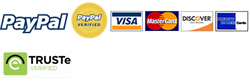 Paypal, Visa, Mastercard, Discover, TRUSTe